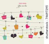 background with stylish doodle... | Shutterstock .eps vector #74697295