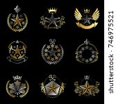 military stars emblems set.... | Shutterstock .eps vector #746975521