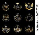 military stars emblems set.... | Shutterstock .eps vector #746975521