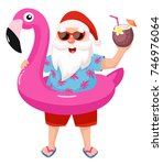 Santa Claus With Flamingo...