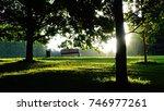 park bench in the morning    Shutterstock . vector #746977261