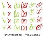 red cross and green tick grunge ...   Shutterstock .eps vector #746983561