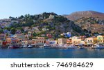 photo from iconic port of symi... | Shutterstock . vector #746984629
