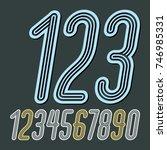 set of stylish disco vector... | Shutterstock .eps vector #746985331