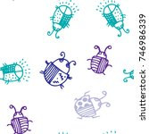 seamless bugs cartoon pattern.... | Shutterstock .eps vector #746986339