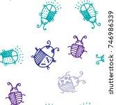 seamless bugs cartoon pattern.... | Shutterstock .eps vector #746986339