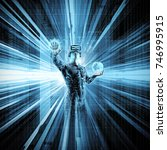 virtual reality data stream  ... | Shutterstock . vector #746995915