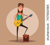 rock music band character. old... | Shutterstock .eps vector #747002485