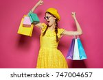 happy woman after shop ... | Shutterstock . vector #747004657