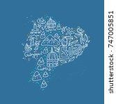 cartoon map of ecuador   hand... | Shutterstock .eps vector #747005851