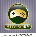 shiny emblem with video game... | Shutterstock .eps vector #747007429