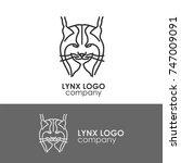 vector lynx head  face  emblems ...   Shutterstock .eps vector #747009091