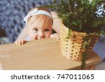happy mother and 9 month old... | Shutterstock . vector #747011065