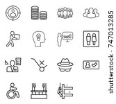 thin line icon set   target... | Shutterstock .eps vector #747013285