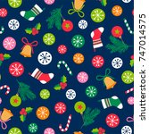 colorful christmas elements... | Shutterstock .eps vector #747014575