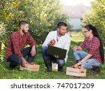 handsome agronomist advising... | Shutterstock . vector #747017209