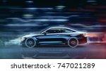 high speed  sports car  ... | Shutterstock . vector #747021289