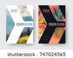 vector report cover template in ... | Shutterstock .eps vector #747024565