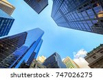 up view in financial district ... | Shutterstock . vector #747026275