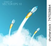 rocket launch.vector... | Shutterstock .eps vector #747028864