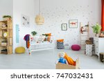 doll in wooden box in spacious... | Shutterstock . vector #747032431