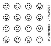 set of emoticon vector isolated ... | Shutterstock .eps vector #747034087