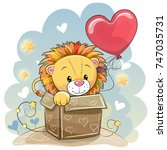birthday card with a cute lion... | Shutterstock .eps vector #747035731