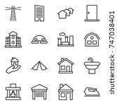 thin line icon set   lighthouse ... | Shutterstock .eps vector #747038401