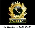gold badge with cutter icon... | Shutterstock .eps vector #747038875
