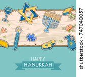 illustration of happy hanukkah  ... | Shutterstock .eps vector #747040057