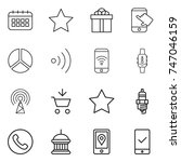 thin line icon set   calendar ...