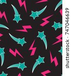 seamless pattern with shooting...   Shutterstock .eps vector #747046639