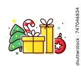 vector christmas presents ... | Shutterstock .eps vector #747046834