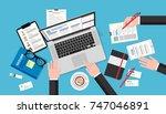 human resources meeting  top... | Shutterstock . vector #747046891