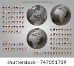 globes with europe  africa and...   Shutterstock .eps vector #747051739