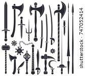 vector black monochrome solid... | Shutterstock .eps vector #747052414