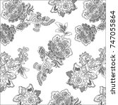 pattern with fantasy flowers ... | Shutterstock .eps vector #747055864