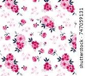 flower pattern with leaves | Shutterstock .eps vector #747059131