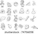 cute schoolboys and schoolgirls ... | Shutterstock .eps vector #74706058
