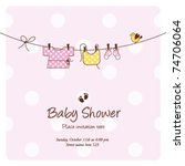 Stock vector baby girl shower invitation card baby background with copy space 74706064