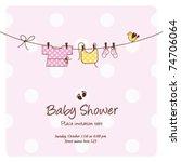 baby girl shower invitation... | Shutterstock .eps vector #74706064