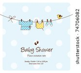 Stock vector baby shower background template vector cute unique hand drawn illustration 74706082