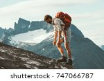 tired man in mountains with... | Shutterstock . vector #747066787