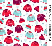 christmas seamless pattern with ...   Shutterstock .eps vector #747073621