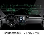 self driving car on a road.... | Shutterstock .eps vector #747073741