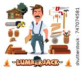 lumberjack or carpenter... | Shutterstock .eps vector #747074581