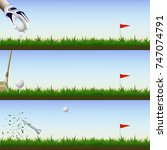 visual drawing of golf ball and ...   Shutterstock .eps vector #747074791