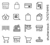 thin line icon set   shop ... | Shutterstock .eps vector #747074995