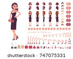 girl in evening dress character ... | Shutterstock .eps vector #747075331
