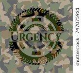 urgency on camouflage pattern | Shutterstock .eps vector #747075931